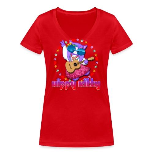 Hippy Kitty - T-shirt ecologica da donna con scollo a V di Stanley & Stella