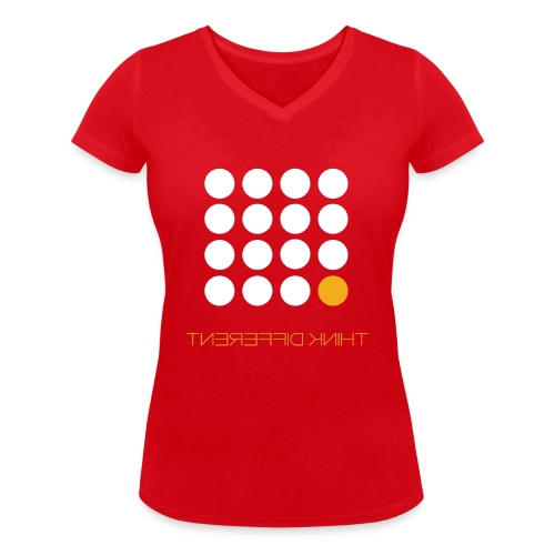 Think Different B. Yellow - Women's Organic V-Neck T-Shirt by Stanley & Stella