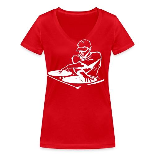 Deejay400Wit - Vrouwen bio T-shirt met V-hals van Stanley & Stella