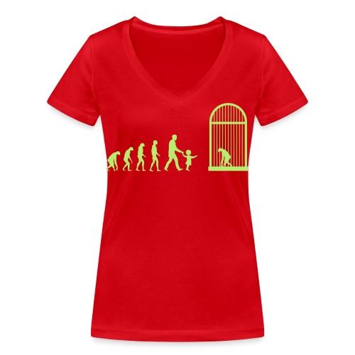 Zoo evolution - T-shirt ecologica da donna con scollo a V di Stanley & Stella