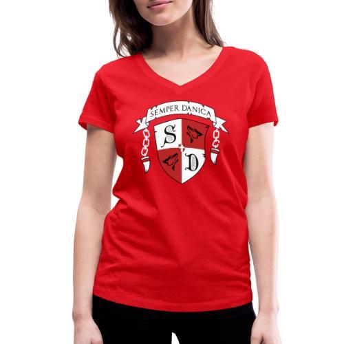 SD logo - hvide lænker - Økologisk Stanley & Stella T-shirt med V-udskæring til damer