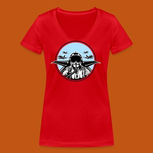Jet Pilot / Kampfpilot 01_weiß Schwarz - Frauen Bio-T-Shirt mit V-Ausschnitt von Stanley & Stella