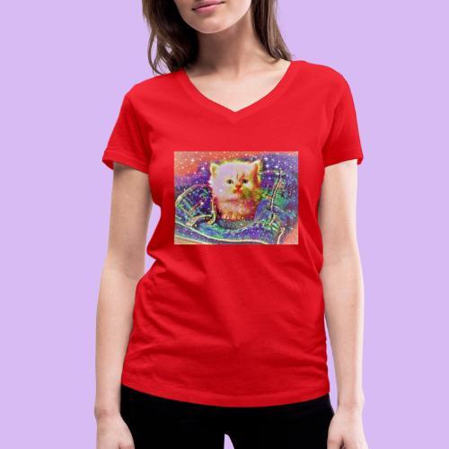 Gattino scintillante nella tasca dei jeans - T-shirt ecologica da donna con scollo a V di Stanley & Stella