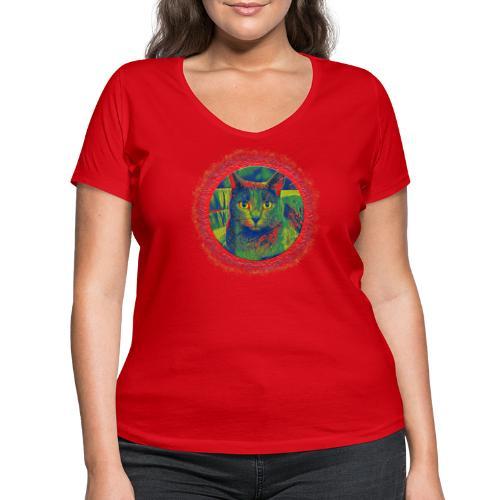 CAT ART AMERA - Frauen Bio-T-Shirt mit V-Ausschnitt von Stanley & Stella