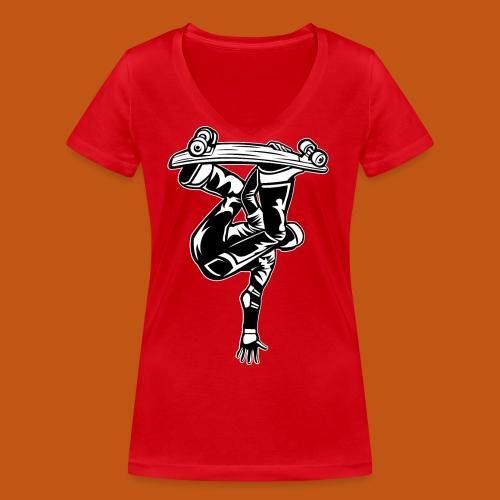 Skater / Skateboarder 03_schwarz weiß - Frauen Bio-T-Shirt mit V-Ausschnitt von Stanley & Stella