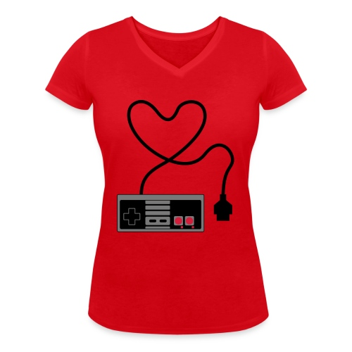 NES Controller Heart - Women's Organic V-Neck T-Shirt by Stanley & Stella