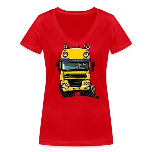 0810 D truck CF geel - Vrouwen bio T-shirt met V-hals van Stanley & Stella