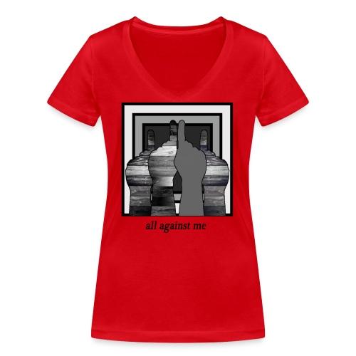 ALL AGAINST ME-2 - Camiseta ecológica mujer con cuello de pico de Stanley & Stella