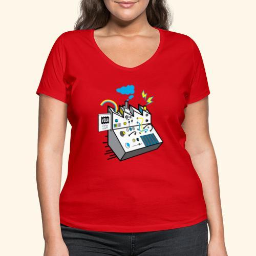 Noisy Factory - Stanley & Stellan naisten v-aukkoinen luomu-T-paita