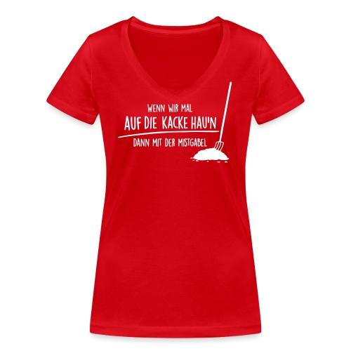 Vorschau: auf die kacke haun - Frauen Bio-T-Shirt mit V-Ausschnitt von Stanley & Stella