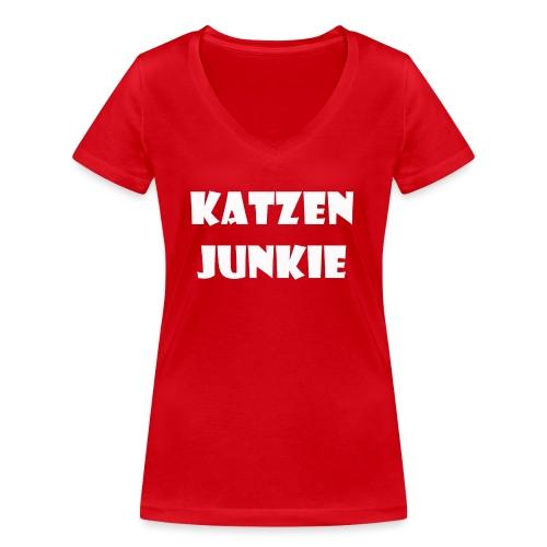 Katzen Junkie 2 - Frauen Bio-T-Shirt mit V-Ausschnitt von Stanley & Stella