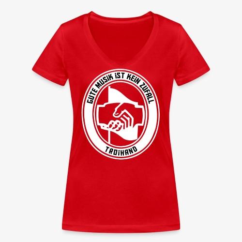 Logo Troihand invertiert - Frauen Bio-T-Shirt mit V-Ausschnitt von Stanley & Stella