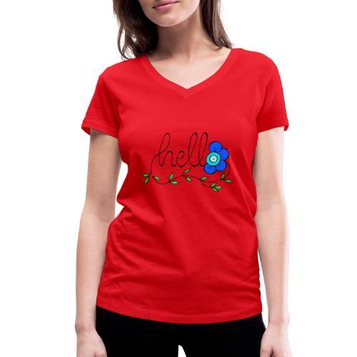 Hello Blume. - Frauen Bio-T-Shirt mit V-Ausschnitt von Stanley & Stella