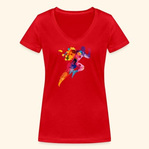 Running colores - Camiseta ecológica mujer con cuello de pico de Stanley & Stella