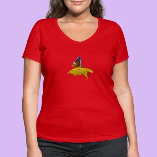 Farfalla su corolla - T-shirt ecologica da donna con scollo a V di Stanley & Stella