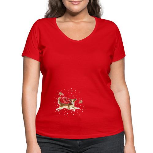 Suza met sneeuwvlokken - Women's Organic V-Neck T-Shirt by Stanley & Stella
