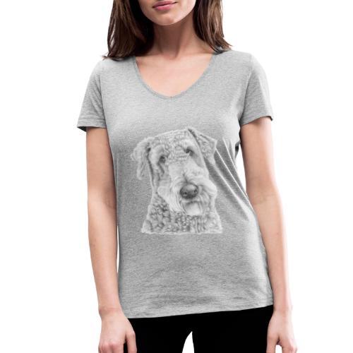 airedale terrier - Økologisk Stanley & Stella T-shirt med V-udskæring til damer