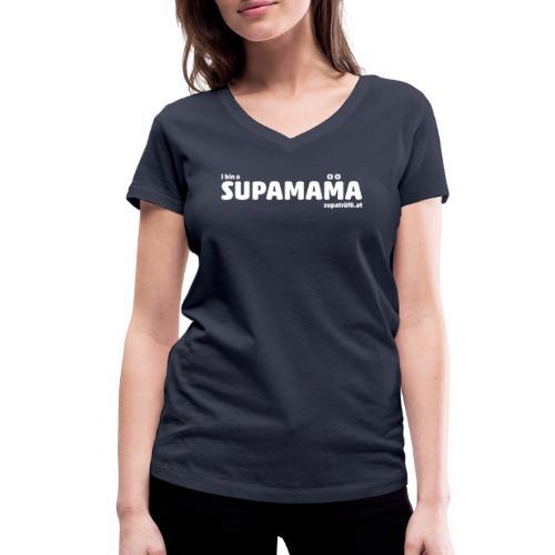 i bin supamama - Frauen Bio-T-Shirt mit V-Ausschnitt von Stanley & Stella