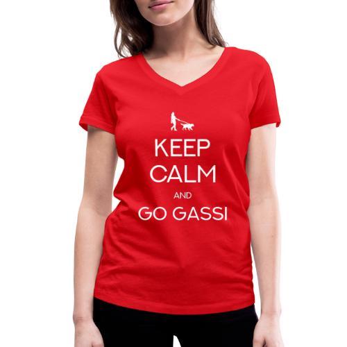 KEEP CALM AND GO GASSI! Hunde Geschenk Design - Frauen Bio-T-Shirt mit V-Ausschnitt von Stanley & Stella