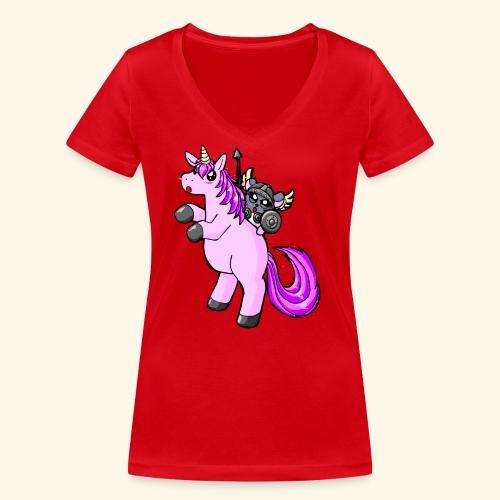 Chinchilla auf Einhorn - Frauen Bio-T-Shirt mit V-Ausschnitt von Stanley & Stella