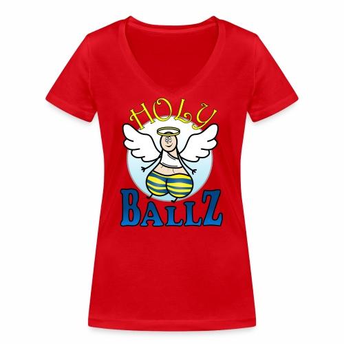 Holy Ballz Charlie - Women's Organic V-Neck T-Shirt by Stanley & Stella