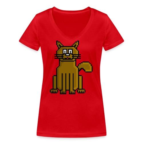 GatoPixelArt - Camiseta ecológica mujer con cuello de pico de Stanley & Stella