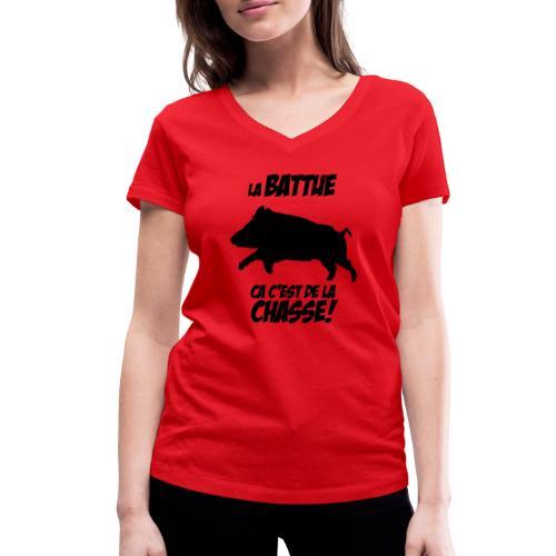 La battue, ça c'est de la chasse (motif sanglier) - T-shirt bio col V Stanley & Stella Femme