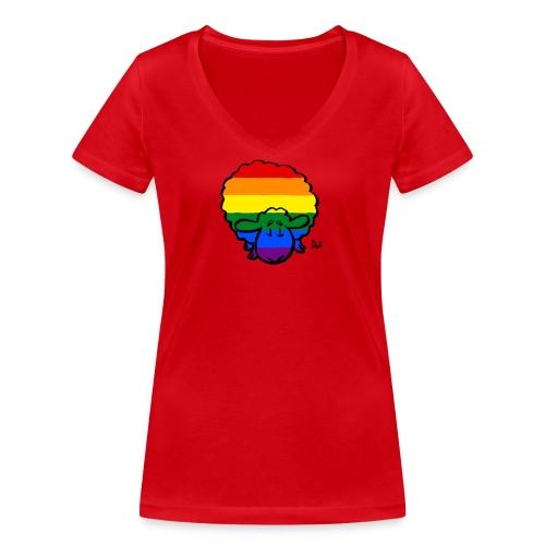 Rainbow Pride Sheep - Camiseta ecológica mujer con cuello de pico de Stanley & Stella