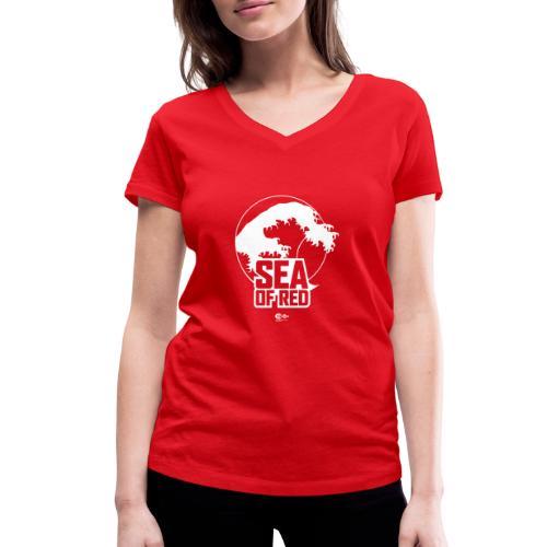 Sea of red logo - white - Women's Organic V-Neck T-Shirt by Stanley & Stella