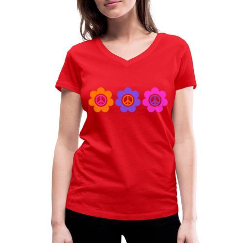 Power Flowers Of Peace Trilogy 1 - Frauen Bio-T-Shirt mit V-Ausschnitt von Stanley & Stella