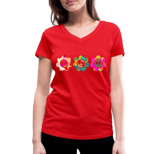 Power Flowers Of Peace Trilogy 3 - Frauen Bio-T-Shirt mit V-Ausschnitt von Stanley & Stella