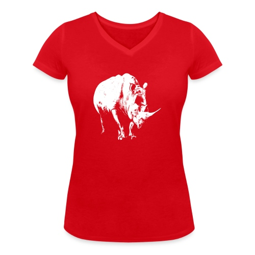White Rhinoceros (highlights only) - Women's Organic V-Neck T-Shirt by Stanley & Stella