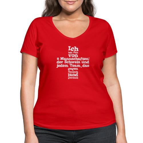 Fan von zwei Mannschaften - Frauen Bio-T-Shirt mit V-Ausschnitt von Stanley & Stella