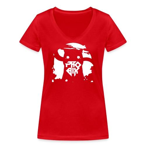 white 01big png - Frauen Bio-T-Shirt mit V-Ausschnitt von Stanley & Stella