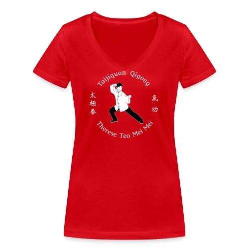 Teo Mei Mei White Logo - Ekologisk T-shirt med V-ringning dam från Stanley & Stella