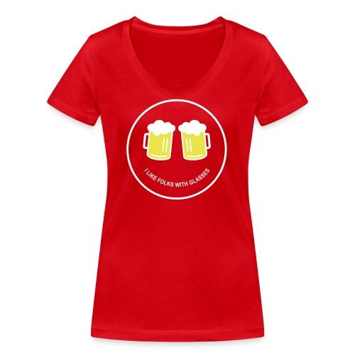 Bier Smiley – Oktoberfest – Bierzelt – Aprèski - Frauen Bio-T-Shirt mit V-Ausschnitt von Stanley & Stella