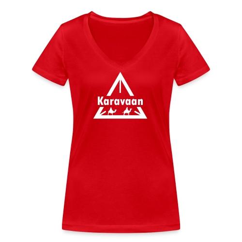 Karavaan White (High Res) - Vrouwen bio T-shirt met V-hals van Stanley & Stella