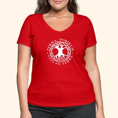 PERMA NORIKUM weiss - Frauen Bio-T-Shirt mit V-Ausschnitt von Stanley & Stella