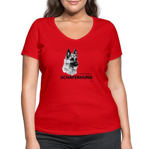 Home is where my Schäferhund is ! - Frauen Bio-T-Shirt mit V-Ausschnitt von Stanley & Stella