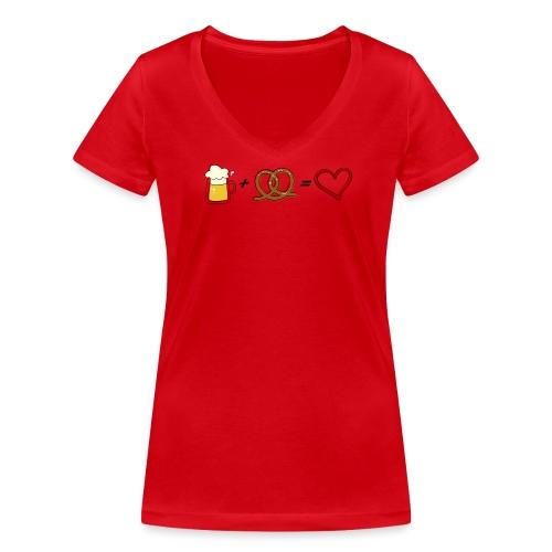 pretzel + beer = love - Women's Organic V-Neck T-Shirt by Stanley & Stella