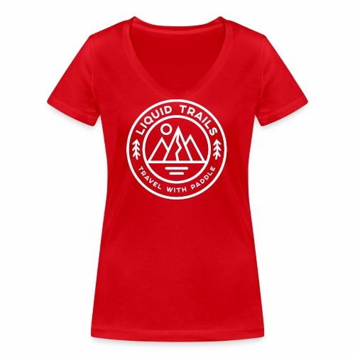 Liquid Trails Logo weiss - Frauen Bio-T-Shirt mit V-Ausschnitt von Stanley & Stella