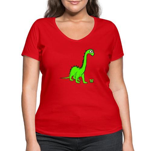 dinosauro - T-shirt ecologica da donna con scollo a V di Stanley & Stella