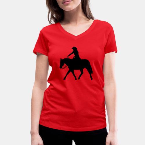 Ranch Riding extendet Trot - Frauen Bio-T-Shirt mit V-Ausschnitt von Stanley & Stella