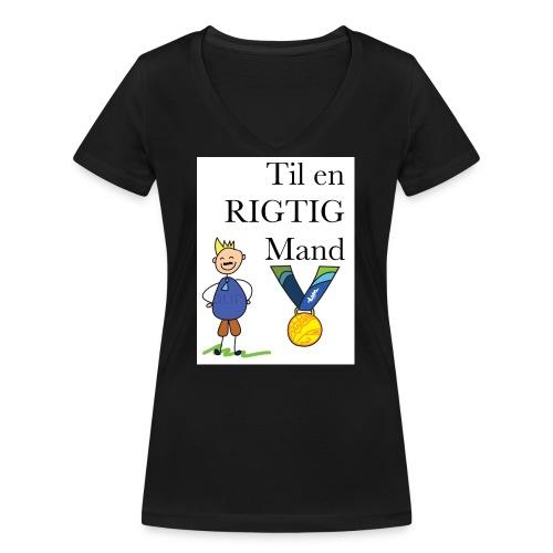 En rigtig mand - Økologisk Stanley & Stella T-shirt med V-udskæring til damer