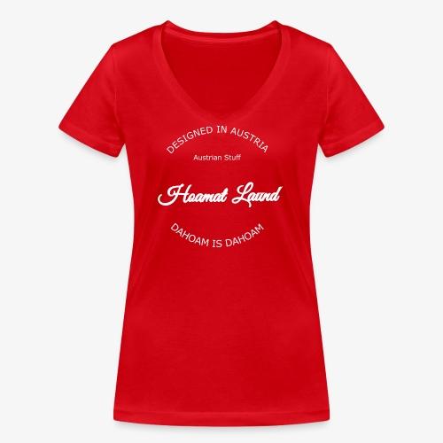 hoamatlaund mit bissl an weißen Text - Frauen Bio-T-Shirt mit V-Ausschnitt von Stanley & Stella