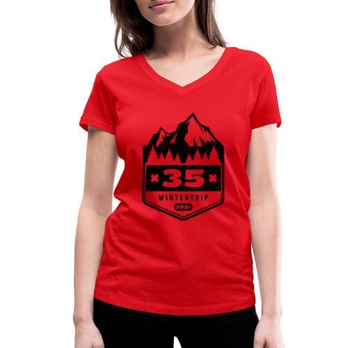 35 ✕ WINTERTRIP ✕ 2021 • BLACK - Vrouwen bio T-shirt met V-hals van Stanley & Stella