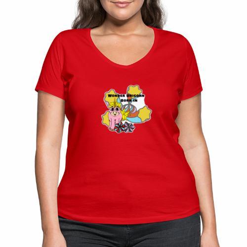 Merveilleuse Licorne née (pour fille) - T-shirt bio col V Stanley & Stella Femme