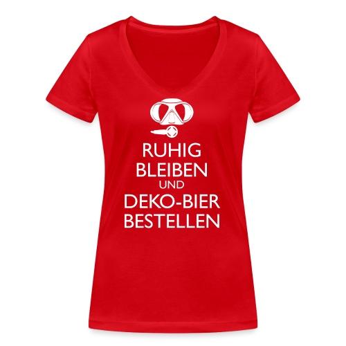 Ruhig bleiben und Deko-Bier bestellen Umhängetasc - Frauen Bio-T-Shirt mit V-Ausschnitt von Stanley & Stella