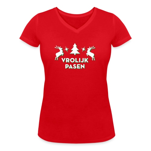 Vrolijk Pasen - Vrouwen bio T-shirt met V-hals van Stanley & Stella