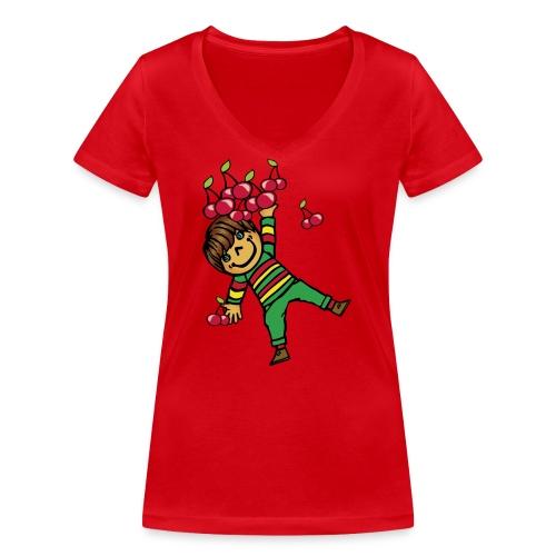 08 kinder kapuzenpullover hinten - Frauen Bio-T-Shirt mit V-Ausschnitt von Stanley & Stella